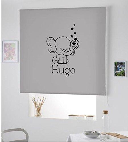 PERSIANA Estor Infantil Personalizado con Nombre Elefante Hugo (150X180, Gris)