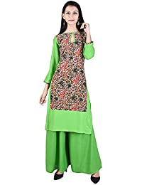 VOJO Rayon Block Print Key Hole Neck Straight 3/4th Sleeve Multicolor2 Women's Casual&Party Wear Kurti With Palazzo...