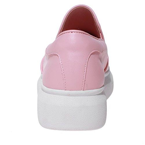 AgooLar Femme à Talon Bas Matière Souple Couleur Unie Tire Rond Chaussures Légeres Rose
