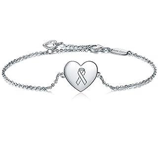 Women 925 Sterling Silver Cancer Aware Heart Adjustable Bracelet