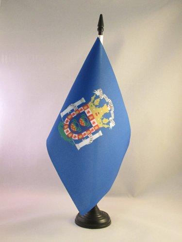 AZ FLAG Bandera de Mesa de Melilla 21x14cm - BANDERINA de DESPACHO ESPAÑOLA - ESPAÑA 14 x 21 cm