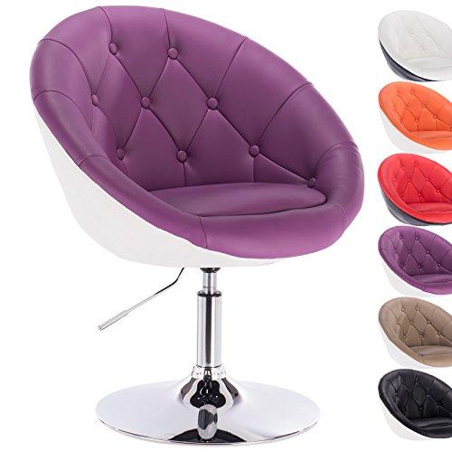 WOLTU® BH41vlw-1,1X Fauteuil de bar chaise longue avec accoudoir en similicuir ,2 couleur Violet+Blanc