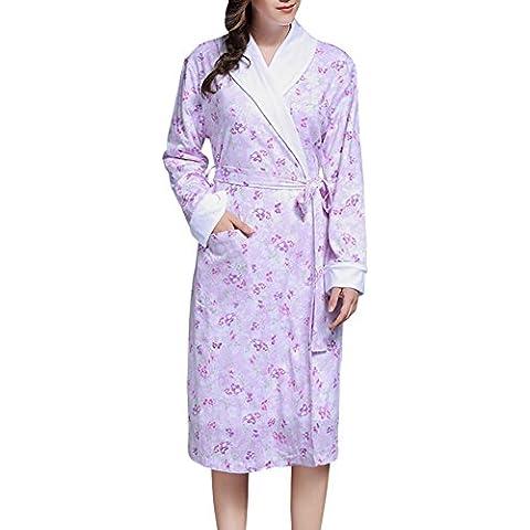 DoreKim Nuevo Unisex Hombres Mujeres ropa de dormir ropa de noche pijama bata de baño 100% algodón larga túnica DK3566