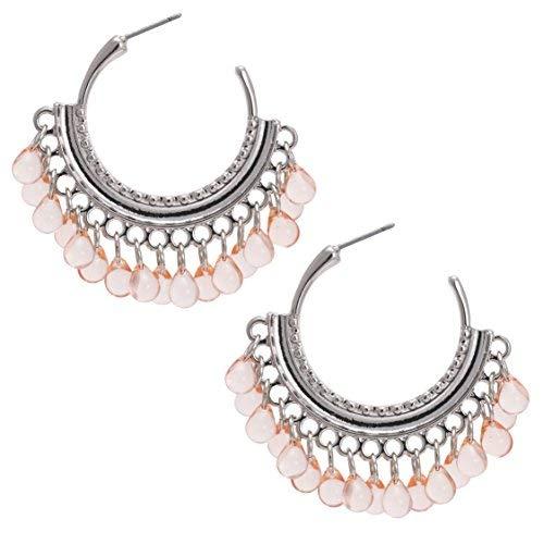 Bonaluna Damen Perlen Wassertropfen schwang Quaste Reifen Pfirsich -