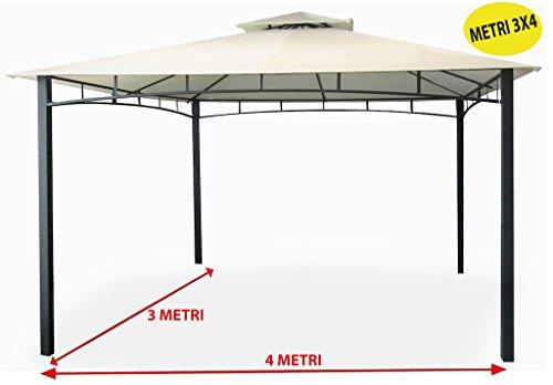sf savino filippo gazebo da giardino 3x4 metri con telo impermeabile ecrù in metallo e ferro nero satinato antiruggine e doppio tetto anti vento pali portanti 6x6 cm