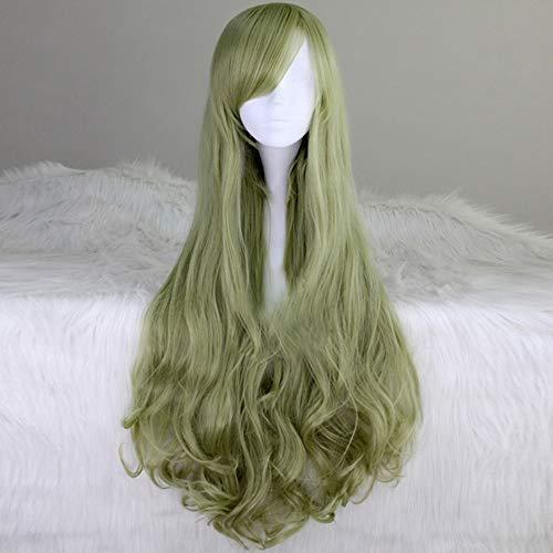 Mensch Lange Lockig Welle Perücken Grau Grün Haar Mung Bohne Farbe Haar Matt Synthetik Hitzebeständig Ballaststoff Zum Hallowan Cosplay ()