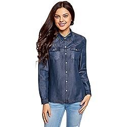 oodji Ultra Mujer Camisa con Botones a Presión con Bolsillos en el Pecho, Azul, ES 40 / M