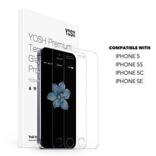 Verre Trempé iPhone 5 5S 5C SE Protection Écran Film Protection en Vitre Écran Protecteur Compatible Fonction 3D Touch [Lot de 2] Dureté 9H - Ultra Mince 0.26 mm - Haute Transparence YOSH *Garantie à Vie* Ultra Résistant Glass Screen Protector