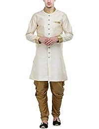 RG Designers Cream And Gold Plain Sherwani For Men