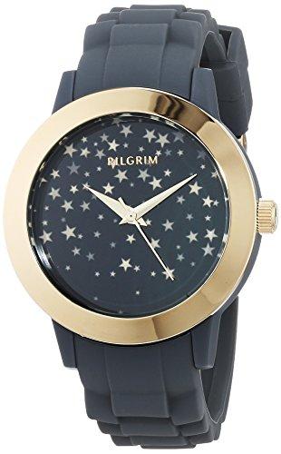 Pilgrim Damen Analog Quarz Uhr mit Silikon Armband 701742110