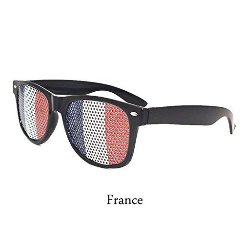 Verschiedene Ländern Kostüm - Amody Verschiedene Länder Nationale Fahne Brille Sonnenbrille für Fußball-Fußball-Fans FR