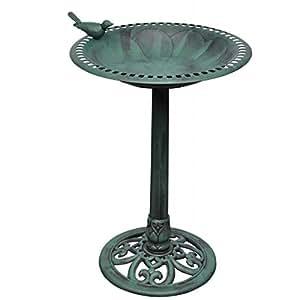 Bain d'oiseau sur pied vert avec oiseau décoratif abreuvoir mangeoire fontaine jardinière