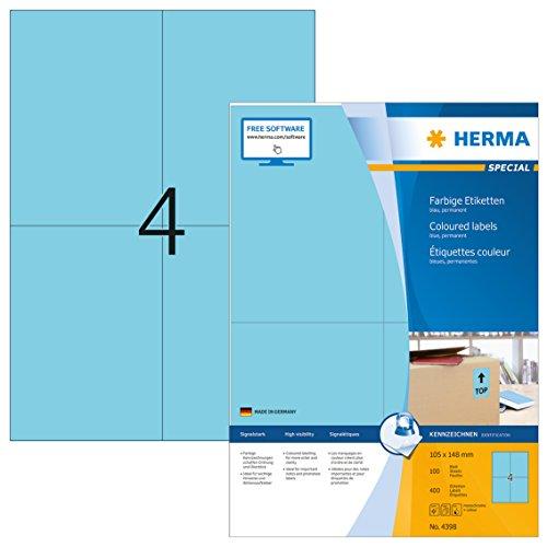 Herma 4398 Farbetiketten (105 x 148 mm, Format DIN A6 auf DIN A4 Papier matt) 400 Stück auf 100 Blatt, blau, bedruckbar, selbstklebend