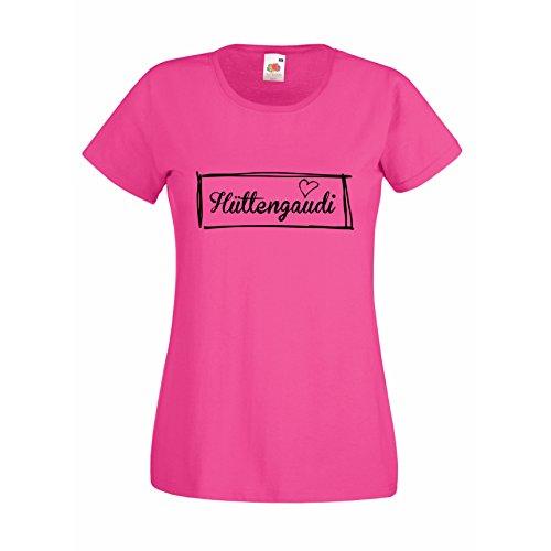 Damen T-Shirt Hüttengaudi Apres Ski Snoboard Love Herz, pink, M