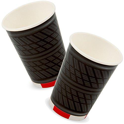 Reifen-servietten (4 große Papp-Becher * FORMULA * mit Reifen-Profilprägung für Kindergeburtstag oder Motto-Party // Party Partybecher Cups Motto Autos Rennautos Rennen Autorennen Cars)