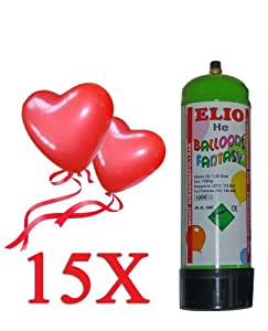 HELIUM-SET 15 Herzluftballons + Helium + Schnellverschlüsse (15 ROTE Herzballons + Helium + Schnellverschlüsse)