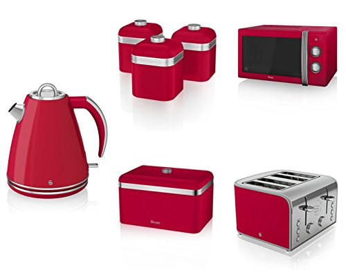 Swan Kitchen Appliance Retro Set - Red Manual Microwave, 1.5l Jug Kettle, 4 Slice Toaster, Retro Breadbin And 3 Canisters Set