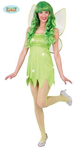 sexy grüne Fee Kostüm für Damen Karneval Fasching Märchen grün Flügel Gr. M-L, Größe:L
