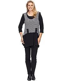 Effektvolles Tunika Longshirt Two-in-One Design schwarz-weiss