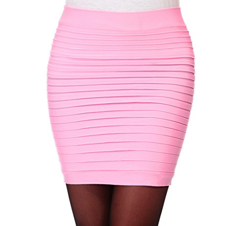 Encounter Damen Mini Business Pencil Rock Kleid Stretch Bleistiftrock Knielang Bleistiftröcke Kurz Hohe taille (Rosa Pencil-skirt)