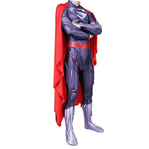 YXIAOL Superman Kostüm, Superheld Kostüm, Justice League Film Cosplay Party Kostüm, Halloween Karneval Kostüm, Erwachsener/Kind,Purple-S (Superman Kostüm Gürtel)