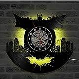 LED Batman serie vinile orologio da parete luce notturna luce notturna Amo cucire LED orologio da parete in vinile retroilluminazione colore telecomando retro fatto a mano decorazione della casa decor