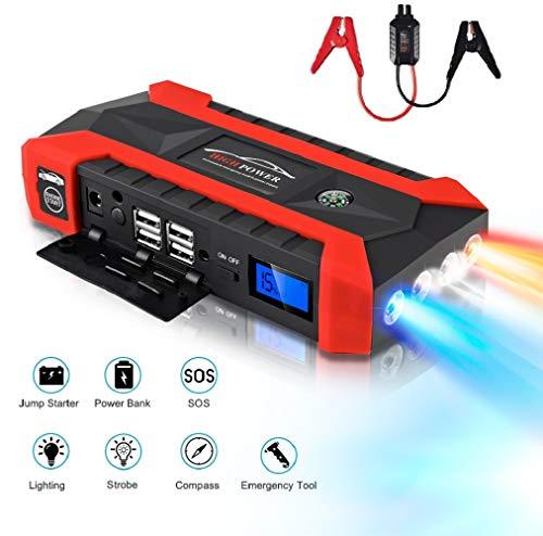 600A 20000mAh Tragbare Auto Starthilfe, Autobatterie Anlasser, Externes Akku-Ladegerät mit LED Taschenlampe, Kompass, LCD Display und für Laptop, Smartphone, Tablet und Vieles Mehr