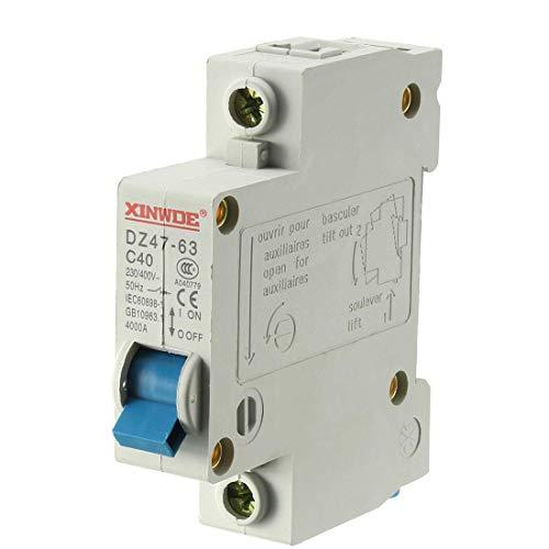 Din Mount Circuit Breaker (ZCHXD 1 Pole 40A 230/400V Low-voltage Miniature Circuit Breaker Din Rail Mount DZ47-63 C40)