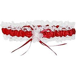 Liga de novia con flores y lazo en varios colores a elegir - Rojo