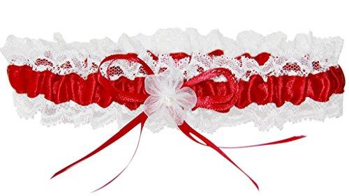 Strumpfband M8242IJH für die Braut mit Blumen und Schleife Bordeaux