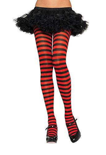 LEG AVENUE 7100 - Blickdichte Ringel-Strümpfhose Kostüm Damen Karneval, Einheitsgröße, schwarz/rot (Rot Und Weiß Gestreifte Strumpfhose Kostüm)