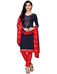 Rensila Fab Women's French Crepe Salwar Suit Material (RAFD_NECK NAVY_D; Multicolor; Free Size)