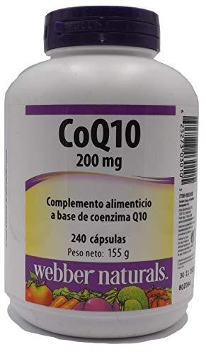 Webber Naturals Coenzima Q10 200 mg 240 capsulas, echo en Canada, sistema Cardiovascular, baja el colesterol, Antioxidante, piel sana, mejor sistema Inmunológico, energía.