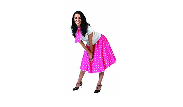 Gonna larga rosa pallini bianchi rock n roll a pois anni 50 Grease Happy  Days  Amazon.it  Giochi e giocattoli ab2fe8aaae9