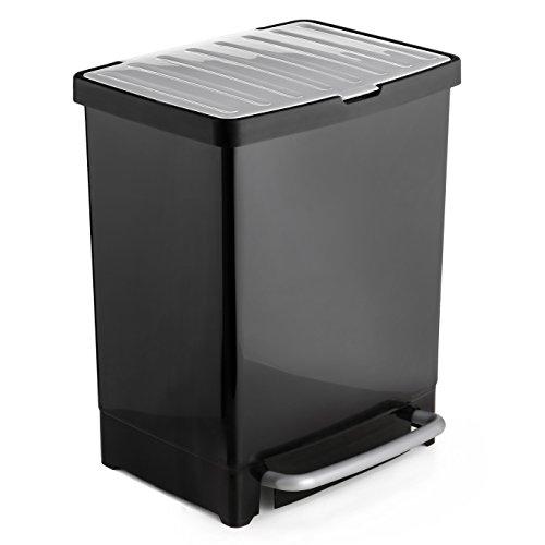 Tatay Cubo Reciclaje 17+8-17 Litros de Capacidad, Cubo de Reciclaje en el Interior con Capacidad para 8 Litros, Dispone de Marco Sujeta Bolsas, Color Negro
