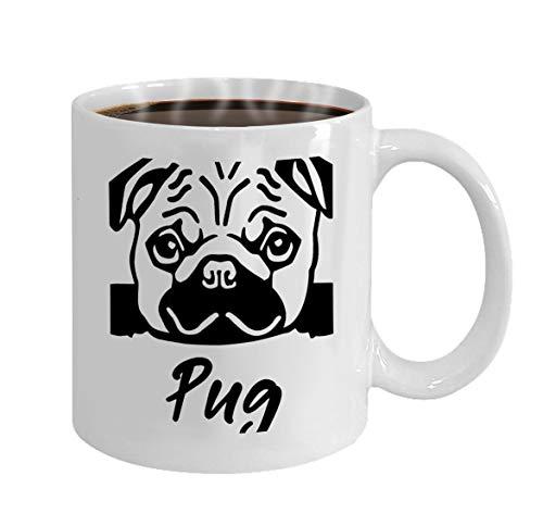 oween Party Gift Coffee Mug Tea pug head black name pug head black white ()