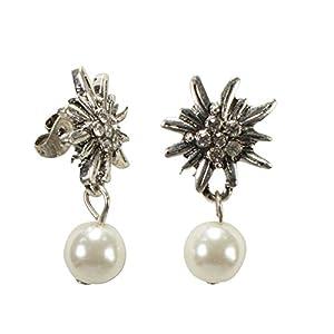 Alpenflüstern Trachten-Ohrstecker Strass-Edelweiß Perle – Damen-Trachtenschmuck, Trachten-Ohrringe in schwarz und creme-weiß DOR041