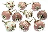 Gemischt Set mit rosa & weiß Schrankknöpfe aus Keramik x 10 (MG-202) - 'Vintage-Chic' TM Produkt