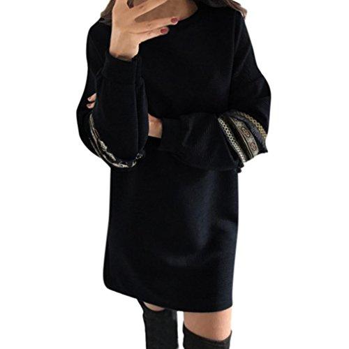 Angelof Robe Droite En CôTe Ado Fille Femmes Gland Ethnique RéTro Robe De Style Femme Manches Longues Mini Robe Femme Hiver Chaud (L, Noir)