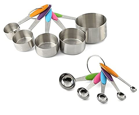 10-Piece Stainless Steel Measuring Spoons/Cups Set - Premium Stackable Tablespoons Measuring Set for Dry and Liquid Ingredients - Silicone Handle, Prefect for Cooking or Baking