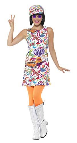 Smiffys Damen 60er Jahre Groovy Chick Kostüm, Kleid und Hut, Größe: 48-50, 44911 -