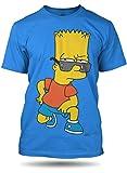 The Simpsons Bart anteojos camiseeta de Hombre, 100% algodón (XX-Large, Azul)