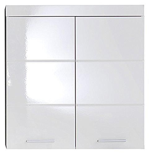 trendteam smart living Badezimmer Hängeschrank Wandschrank Amanda, 73 x 77 x 23 cm in Weiß / Weich Hochglanz mit viel Stauraum - Bett 2 Bad