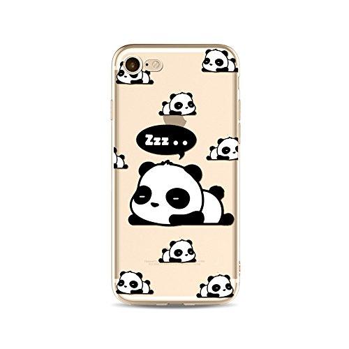 "CoqueiPhone 7 Etui Housse,BoomTeck Coque Pour 4.7"" Apple iPhone 7 Silicone Souple Transparente Motif Clear Ultra Mince Anti Choc Anti-rayures Gel TPU Etui Protection Bumper Case Panda Mignon Bamboo 09"