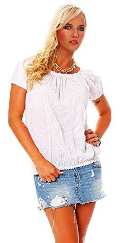 Moda Italy Damen Kurzarmbluse im Carmenstil Sommer Bluse Oberteil Shirt Kurzarmshirt mit Kleinem Karomuster Baumwolle One Size (36-40)