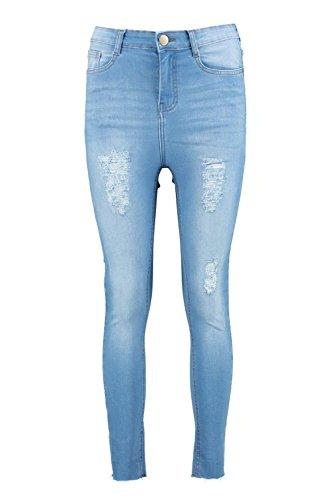 Femmes Bleu Ruth Jean Skinny Serré Taille Haute Aspect Vieilli Bleu
