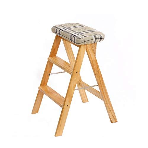 PLL Hocker Massivholz Kreative Klappstuhl Einfache Klappleiter Hocker Küche Hocker Tragbare Hocker Plaid Mat (Color : Wood Color) -