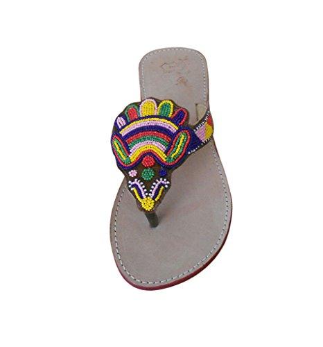 kalra Creations Casual en Cuir traditionnel indien de femmes Tongs Crème