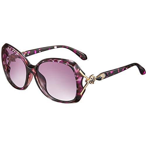 rezi Polarisierte Sonnenbrille, Pilotenbrille Damen Herren, UV400 Schutzlinse, Vintage Square und Fliegerrahmen für Tourismus/Freizeit/Sport, 9 Farben (Fuchs Lila)