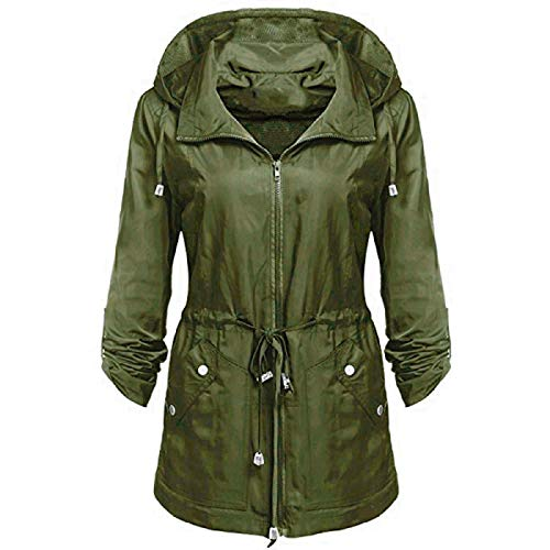 WWricotta Women Waterproof Lightweight Rain Jacket Anorak Detachable Hooded Coat GN/S -